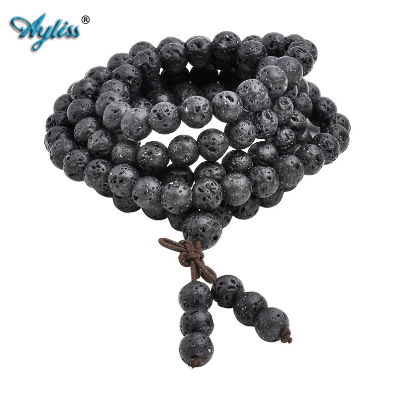 Ayliss Hot Wholesale 6mm 8mm Natural Lava Rock Stone Healing Gem Stone 108 Buddhist Prayer Beads Tibetan Mala Bracelet Necklace