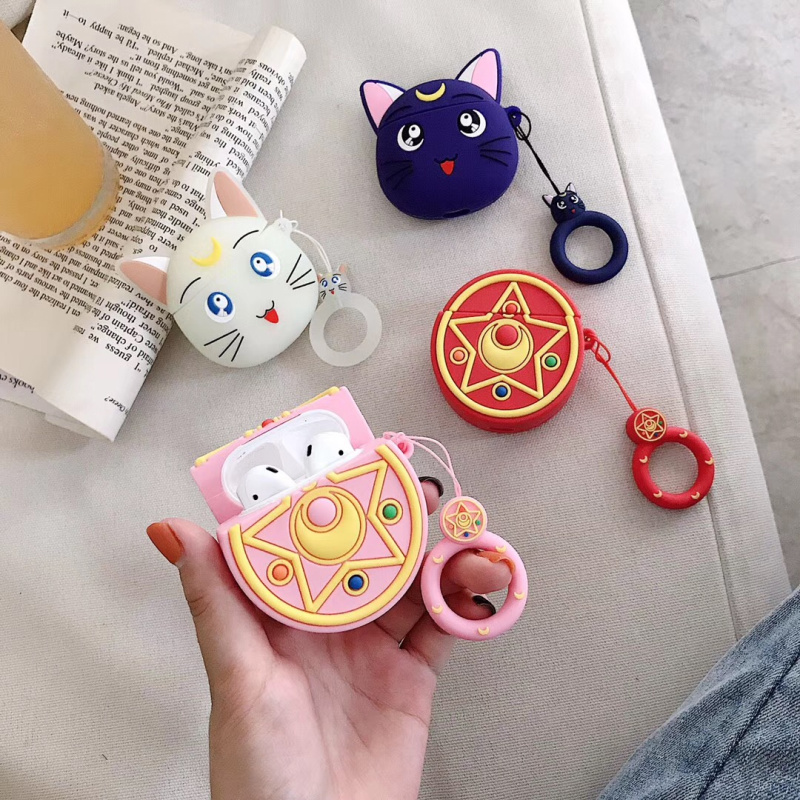 For AirPods Cases Sailor Moon Luminous Luna Cat Bluetooth Wireless Headphones Charger Box Cover For Apple Airpods 2 Finger Strap