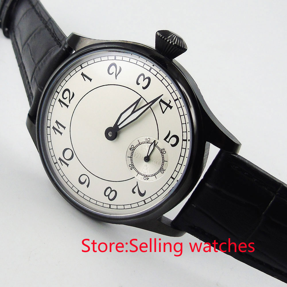 купить 44mm parnis white dial PVD case 6498 movement hand winding mens watch по цене 5687.31 рублей