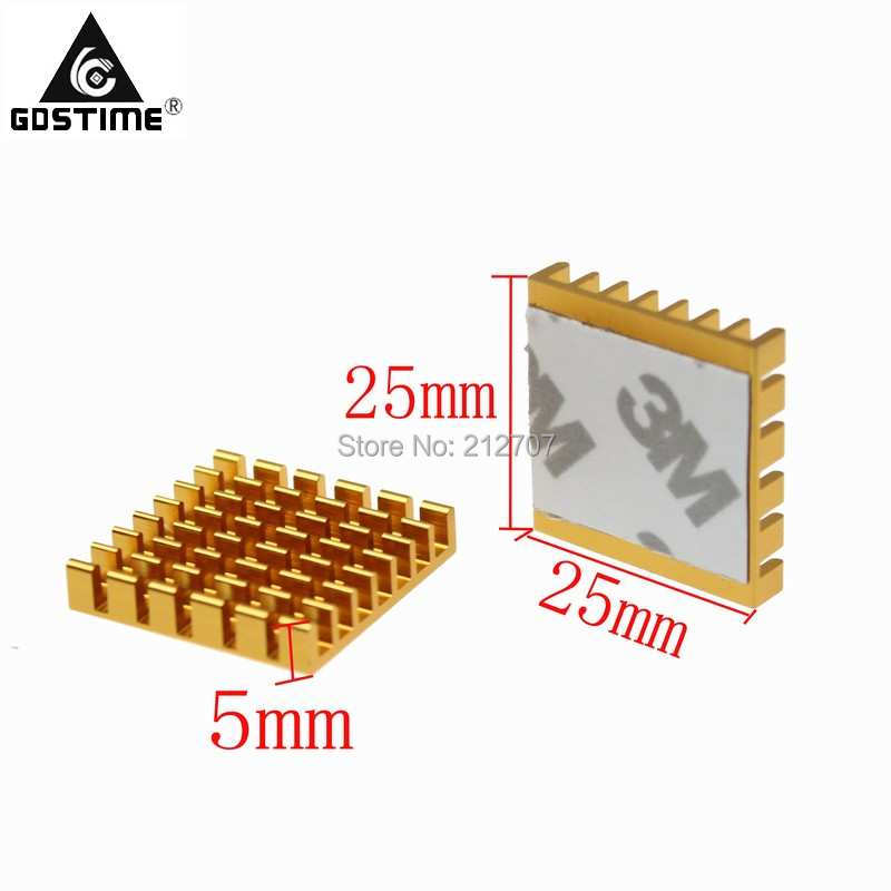 <font><b>30</b></font> Pieces / Lot Gdstime 25x25x5mm Aluminum Radiator 25mm <font><b>x</b></font> 25mm <font><b>x</b></font> 5mm With 3M Tapes <font><b>Heat</b></font> <font><b>Sink</b></font> image