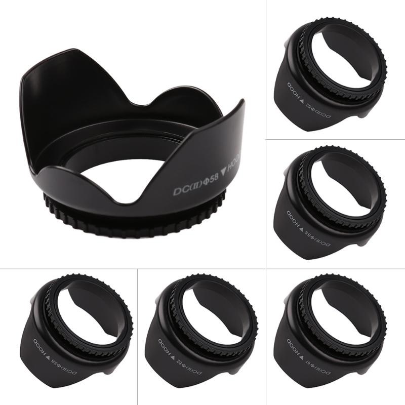 52mm/55mm/58mm/62mm/67mm Professional Camera Lens Hood Flower Shape Screw Mount Lens Hood Sunshade Light Shield Protector universal 95mm metal camera lens hood sunshade sun shield black