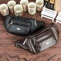 Homens de Couro Genuíno Hip Bum Fanny Cinto Saco de Viagem Bolsa sacos de Marca Famosa Do Vintage Tendência Única Sling Peito de Volta Bloco do Dia
