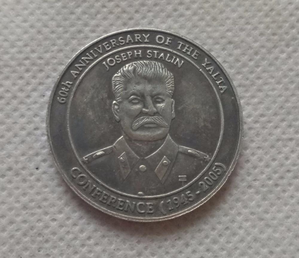 (1945-2005) Иосифа Сталина 60th годовщина Ялте конференции пять долларов КОПИЯ монета Бесплатная доставка ...