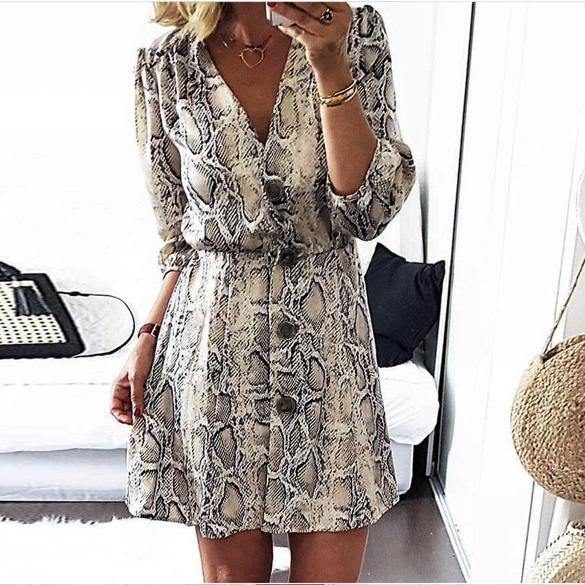 New High Street  Women A-line Dresses Snakeskin Printed Half Sleeve Button Dress Платье