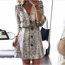 New High Street  Women A-line Dresses Snakeskin Printed Half Sleeve Button Dress