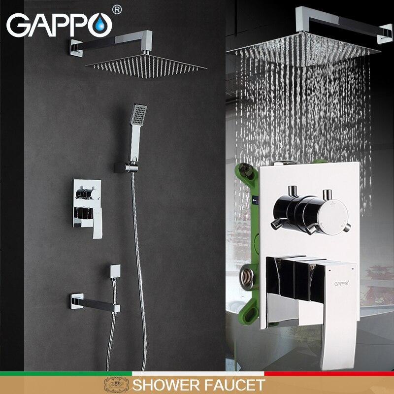 GAPPO chuvas bath Torneira Do Chuveiro misturador torneira do banheiro torneira misturadora cromo misturador do chuveiro torneiras wall mount rain shower set