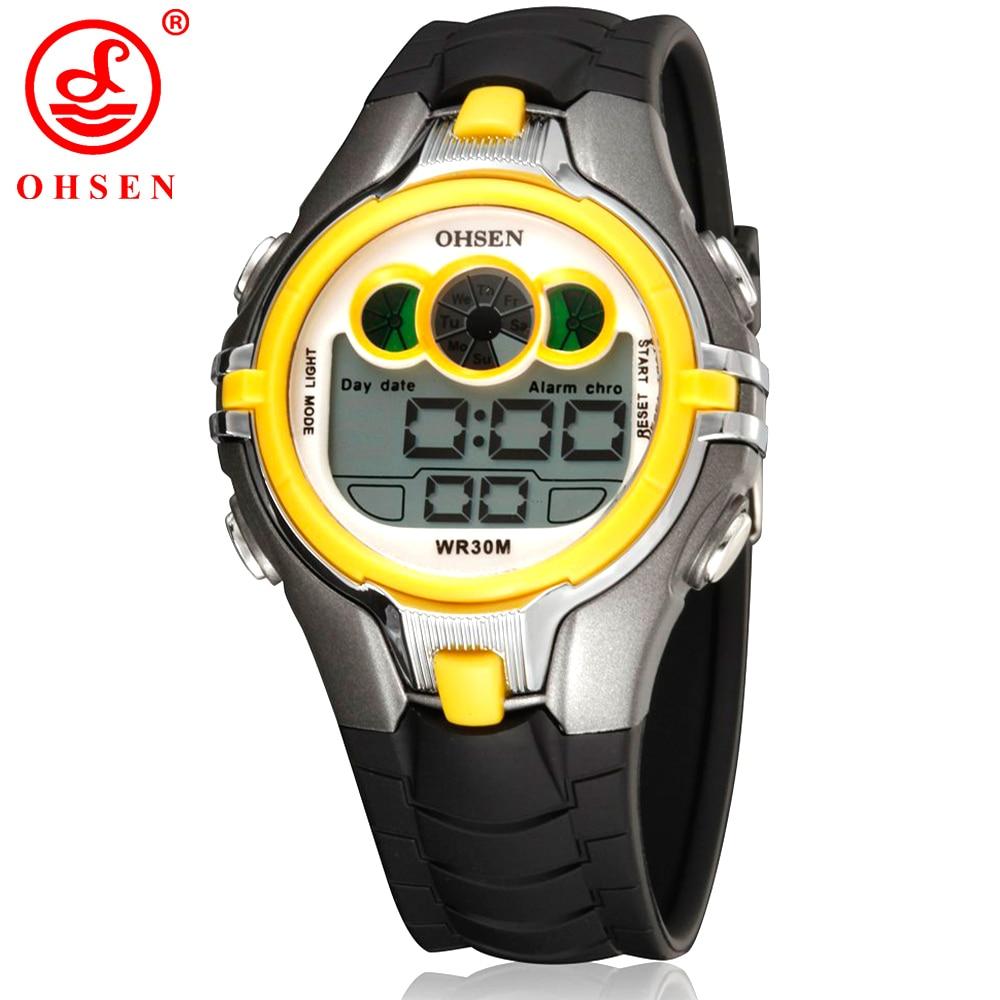 OHSEN Boys Girls Kids Sport Watch Waterproof Yellow Electronic Wristwatch LED Back light Multi functional Children