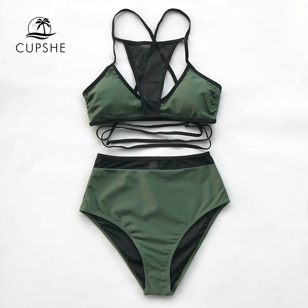 CUPSHE 2018 Sexy Army Green Black Mesh Bikini Set Women Patchwork Tied High Waist Two Pieces Swimwear Girl Sexy Beach Swimsuits cupshe floral print high waist bikini set women reversible heart neck halter two pieces swimwear 2018 beach bathing swimsuits