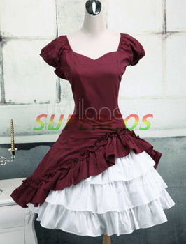 Free shipping! New! High quality! Cotton Short Sleeves Ruffle Bow Classic Lolita Dress