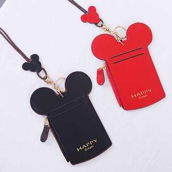 Lovely Cute Mini Mickey PU Leather Credit Card Holder Card Cover Mouse Ear Shape Card Case With Pendant mickey mouse card holder