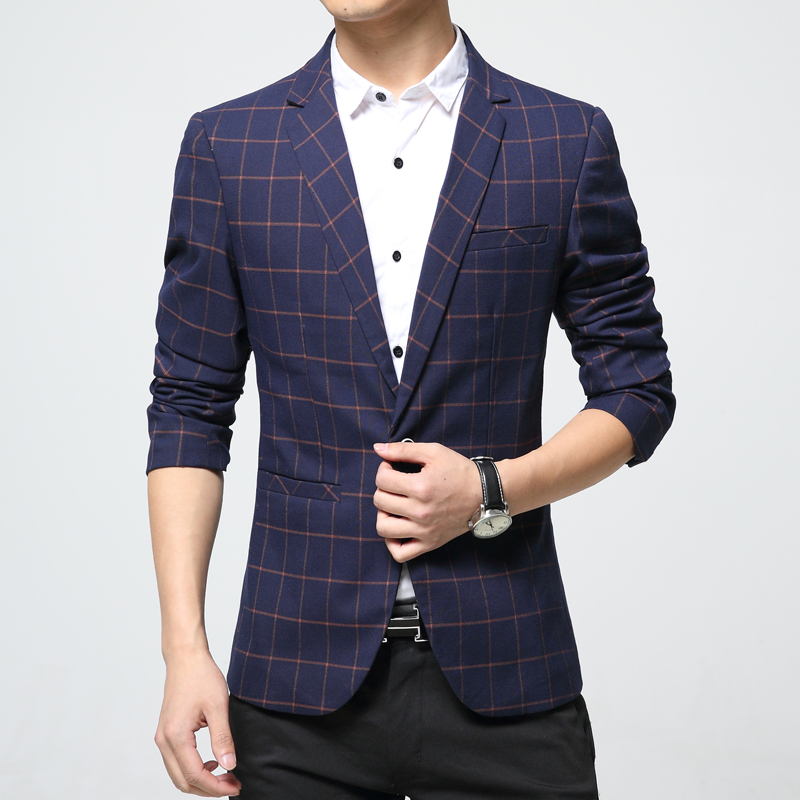Mens plaid blazer cotton mixed casual coat slim fit male for Mixed plaid shirt mens