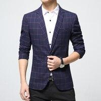 Mens plaid blazer in cotone misto cappotto casuale slim fit Uomo abbigliamento nuovo 2018 navy blu Europa Drop Shipping plus size 4xL 5xl 6xl