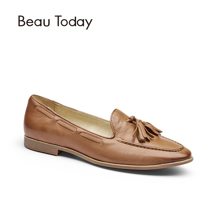 BeauToday Genuine Leather Casual Loafers Women Slip-On Shoes New Fashion Fringes Sheepskin Ladies Flats with Round Toe 27041 beautoday genuine leather crystal loafer shoes women round toe slip on casual shoes sheepskin leather flats 27038