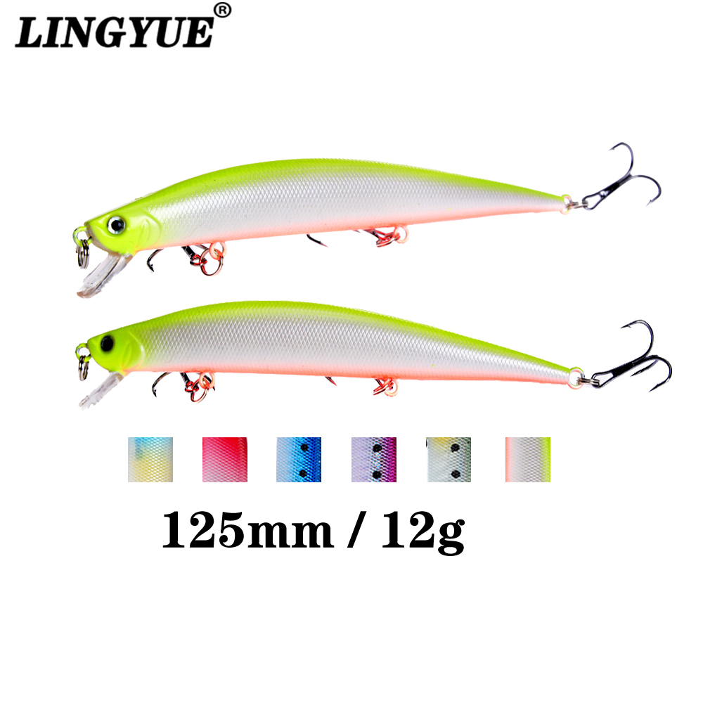 1pcs Fishing Lures 12.5cm/12.4g Minnow Lure 6 Color Select High Quality Hard Bait Crankbait Wobbler Fishing Tackle Wholesale allblue slugger 65sp professional 3d shad fishing lure 65mm 6 5g suspend wobbler minnow 0 5 1 2m bass pike bait fishing tackle