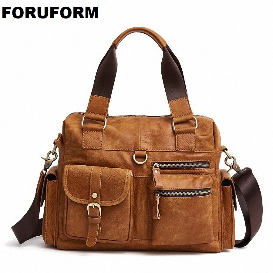 Vintage Genuine Leather Men's Briefcase Business Men Messenger Bag Leather Casual Shoulder Bag Brand Leather Office Bags LI-2201 padieoe men s genuine leather briefcase famous brand business cowhide leather men messenger bag casual handbags shoulder bags
