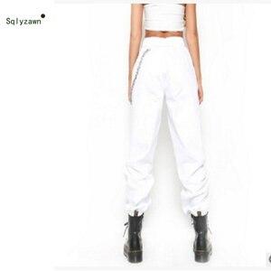 Image 4 - נשים גבוהה Streetwear מותניים מוצק מתכת שרשרת קלע מטען מכנסיים Harajuku שחור לבן חאקי צהוב ירוק מכנסיים ארוך Jogger 2XL