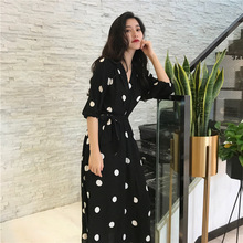 2018 Summer New Dress Korean Fashion Temperament Waist Slimming Point V-neck Tie Long Female