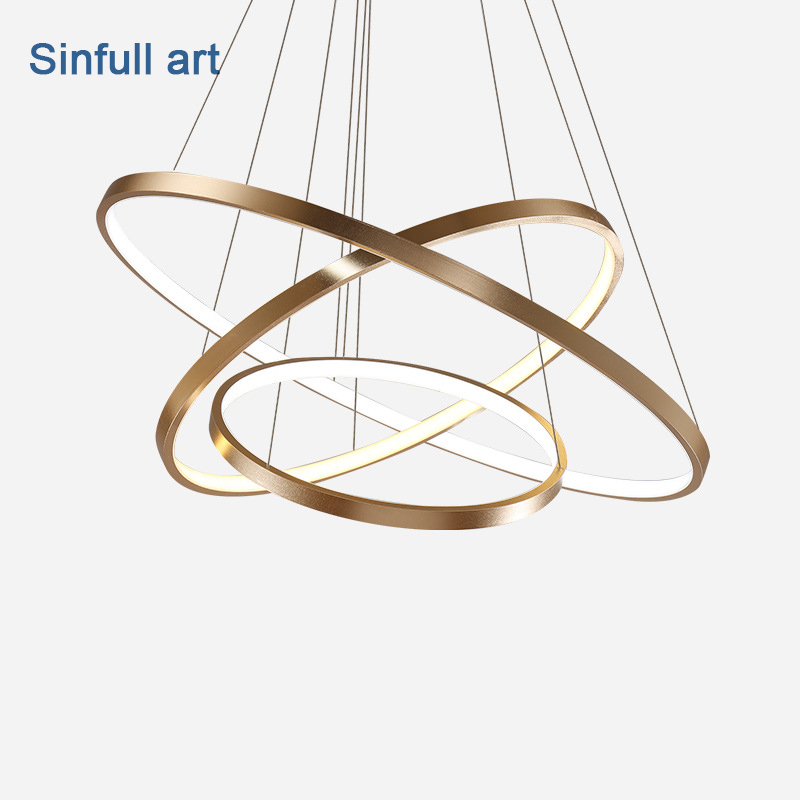 Modern Living Room Pendant Lights Dining Room Circle Rings Acrylic hanglamp Aluminum adjustable LED Ceiling decoration Fixtures