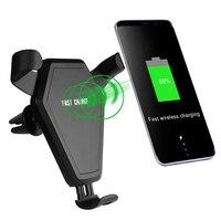 Henzarne QC 2.0 Coche Estándar QI Cargador Inalámbrico Para Samsung S8 S7 Nota 8 Iphone 8 Iphone X Gravedad Vinculación Salida de Aire cargador
