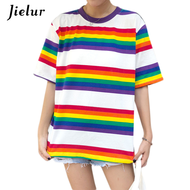 Jielur 2018 Summer New Rainbow Stripe Women T-shirt Korean Casual Slim Ladies T Shirts Short Sleeve Chic Hit Color Tees Dropship