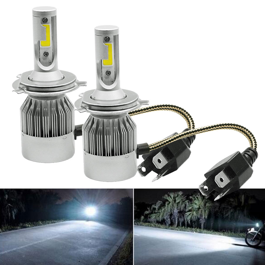 Coppia lampade led da auto fari h4 moto kit lampadine 36w for Lampade lunghe a led