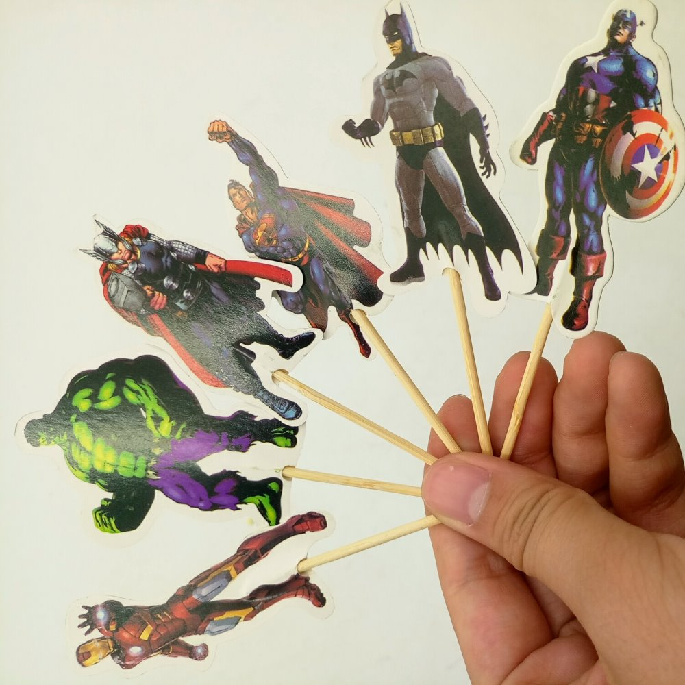24pcs Avenger Cake Dessert Inserted Card Prod With Picture Cake Decoration Card Cupcake Picks Kid Birthday Party Decoration in Cake Decorating Supplies from Home Garden
