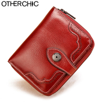 Vintage Genuine Real Leather Women Short Wallets Small Wallet Coin Pocket Credit Card Wallet Female Purses