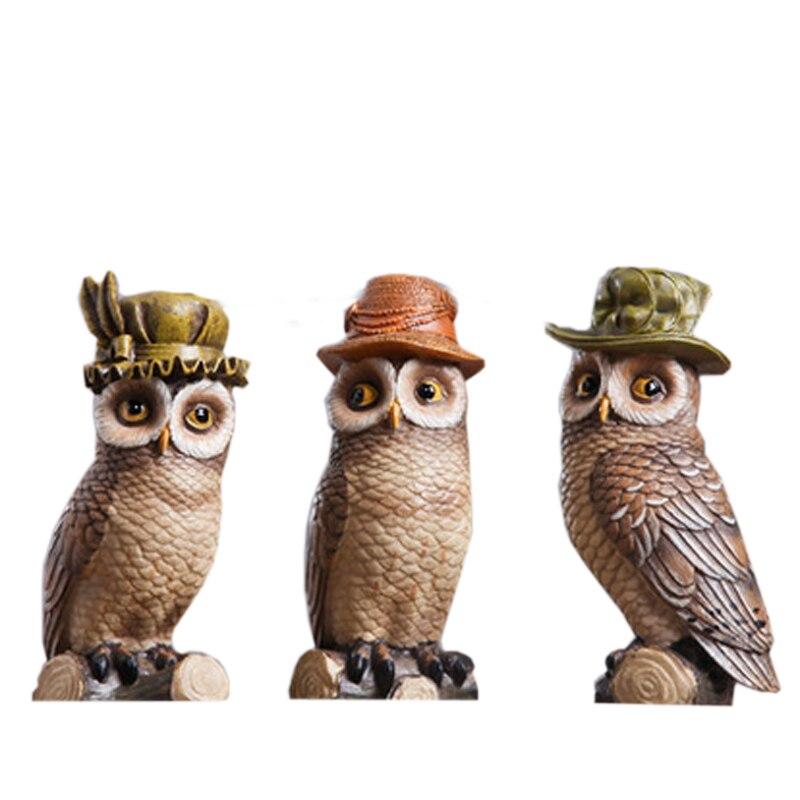 Ensemble de 3 hiboux décoratifs antiques amérique Article oiseaux résine