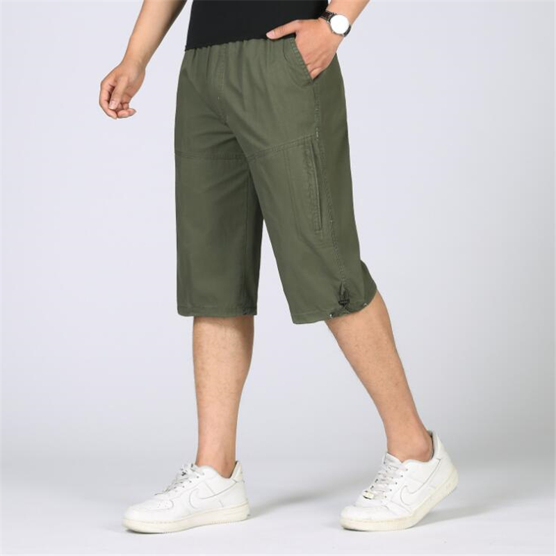 Summer Military Cargo Shorts Men Baggy Multi-Pocket Zipper Casual Loose Shorts Male Army Green Tactical Short Men Plus Size 6XL