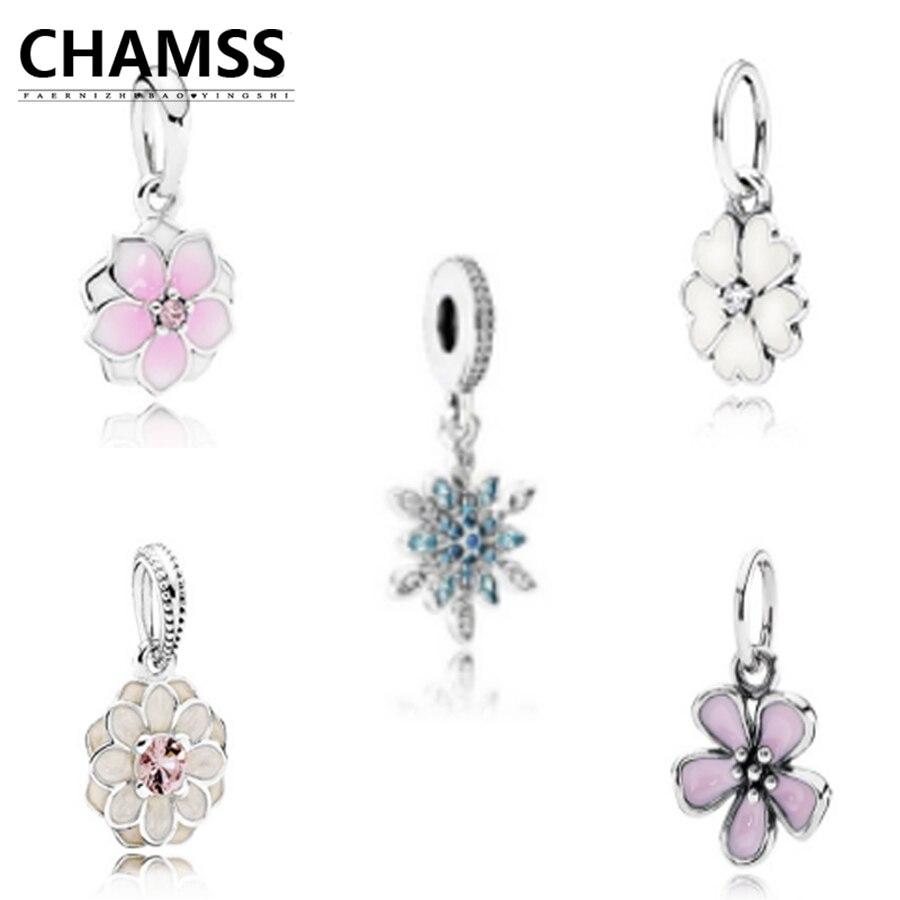 Chamss 100% Echt 925 Inlay Magnolia Anhänger Fit Diy Pds Glamour Schneeflocke Form Authentische Original Schmuck & Zubehör