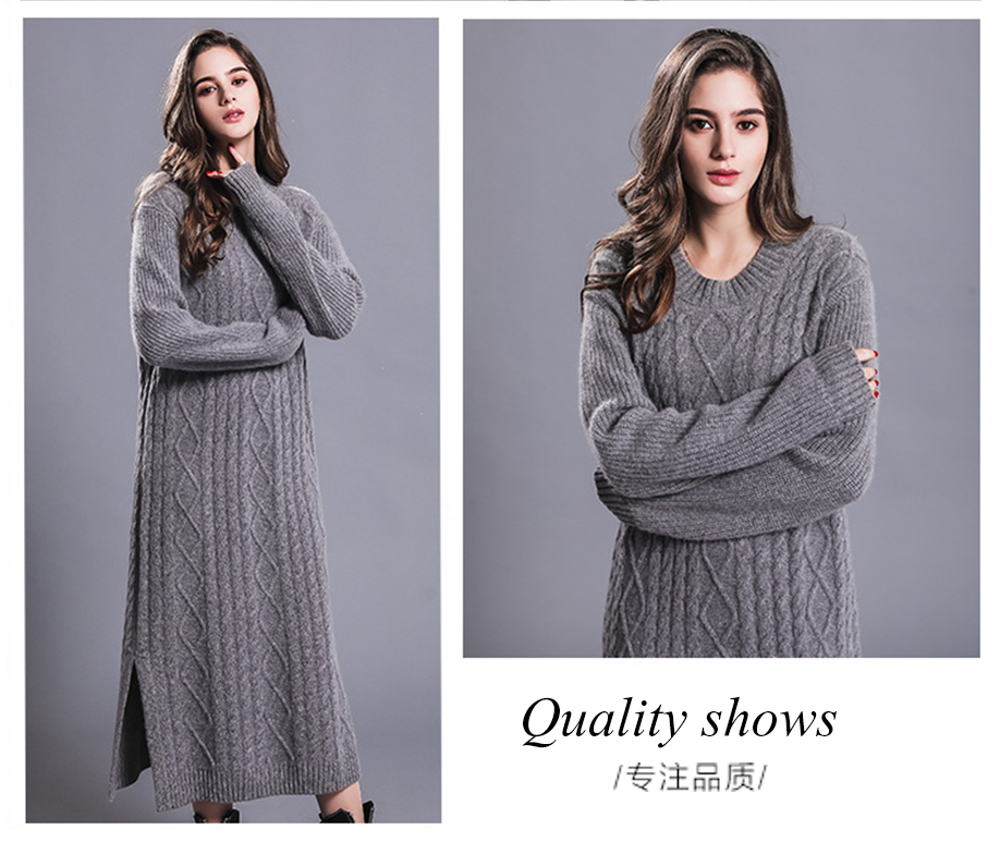 Long Sexy Dress Women 100% Cashmere Ribbed Knitted Sweater Dresses Female O-neck Long Sleeves Knitwear Autumn Winter Dress 18 3