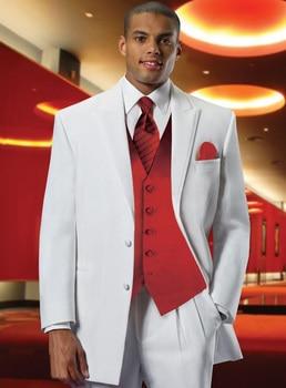 Custom Made Best Selling White Groom Mens Tuxedo,Bespoke White Tuxedo With Red Vest,Tailored 2 Button Peak Lapel Mens Suits