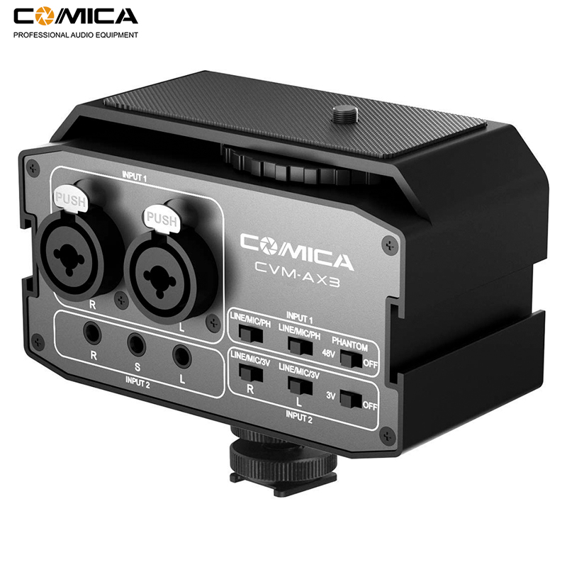 Comica CVM AX3 XLR Audio Mixer Adapter Preamplifier Dual XLR 3 5mm 6 35mm Port Mixer