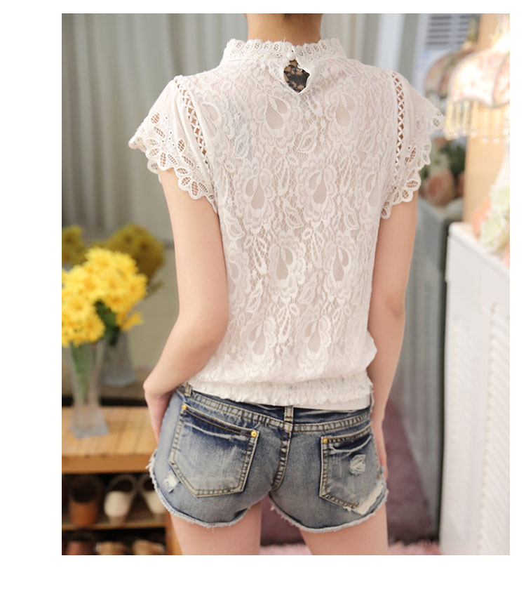Short Petal Sleeve Floral Lace Tops Chiffon Blouse Shirt (Us 2-16)