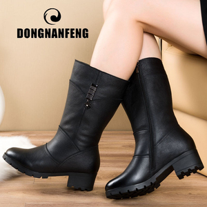 DONGNANFENG Women Female Ladies Mother Genuine Leather Shoes Boots Zipper Bling Winter Fur Plush Mid Calf Warm Size 42 43 BH-665