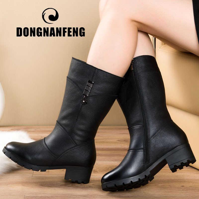 Dongnanfeng feminino senhoras mãe sapatos de couro genuíno botas zíper bling pele de inverno pelúcia meados bezerro tamanho quente 42 43 BH-665