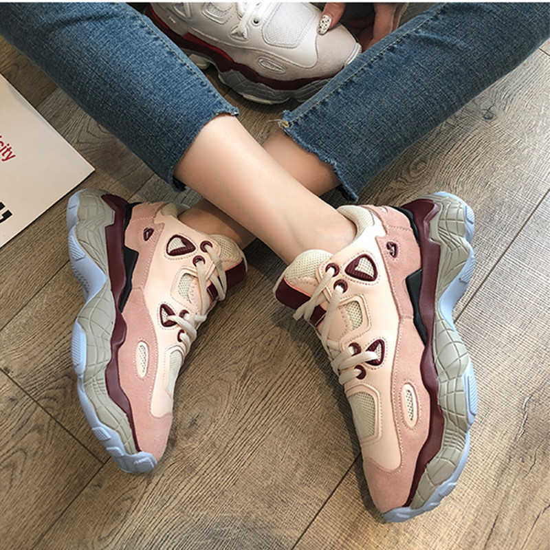 Women's Chunky Sneakers 2019 Designer Women Vulcanize Shoes Fashion Autumn Platform Shoese Tenis Feminino Dad Shoes Basket