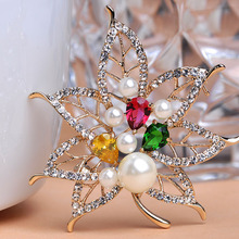 Woman Gold Beads Pearl Brooches Bouquet Pins Hijab Pins Broches Ouro Scarf Clips Pin Up Colar