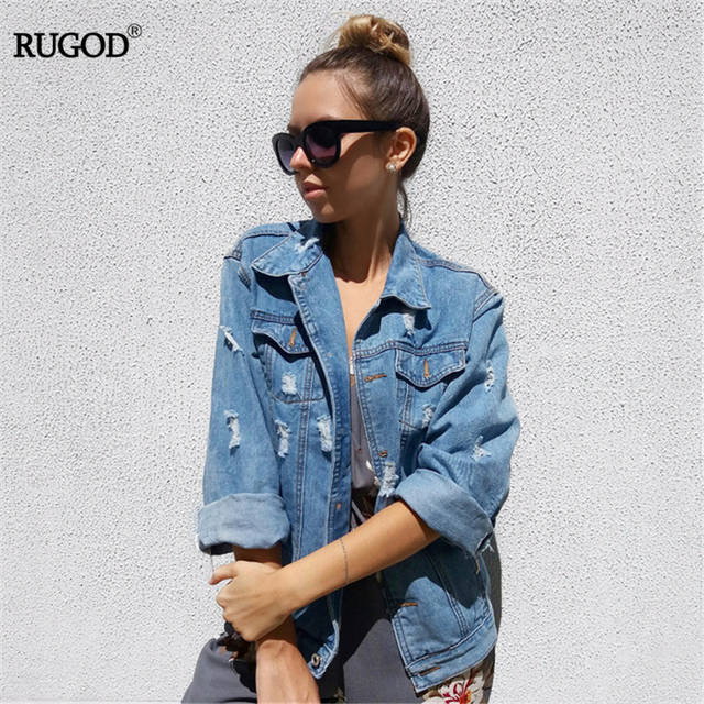 92efcac1bf3 Online Shop Women Basic Coats Spring And Autumn Women Denim Jacket 2018  Vintage Long Sleeve Loose Female Jeans Coat Casual Girls Outwear