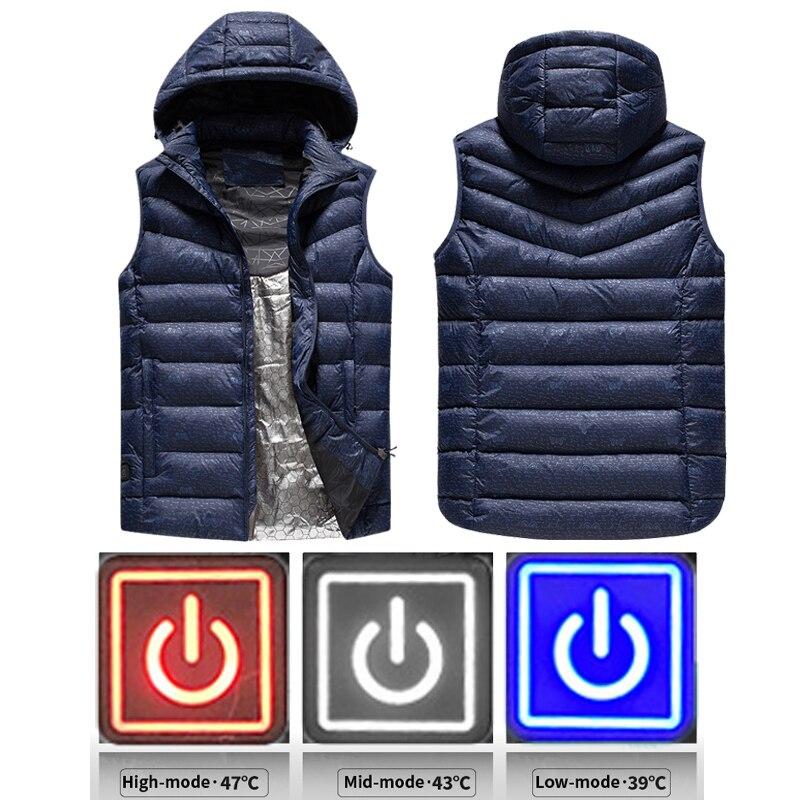 Nowa kamizelka grzewcza na podczerwień USB elektryczna kurtka ocieplana zimowe ubrania grzewcze mężczyźni termiczna kamizelka bez rękawów na zewnątrz wspinaczka w Kamizelki od Odzież męska na AliExpress - 11.11_Double 11Singles' Day 1