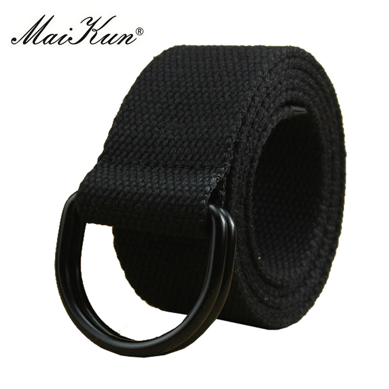 MaiKun Canvas Belts For Men Double Ring Metal Buckle Belts Male Tactical Strap For Jeans