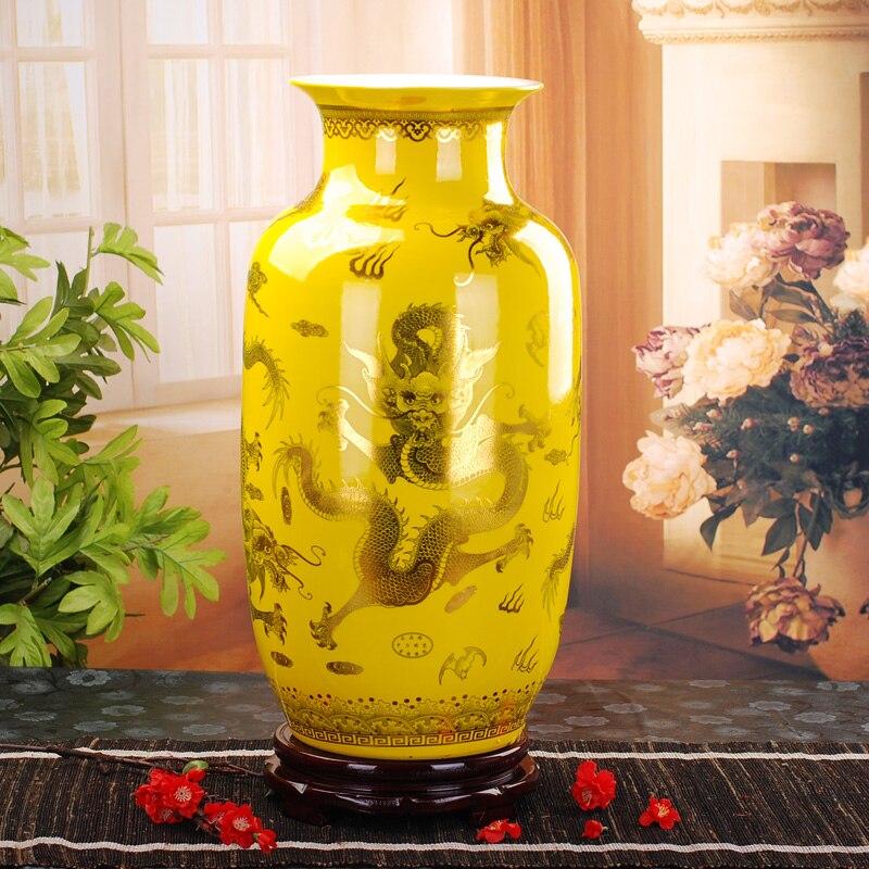 jingdezhen vase floor ceramic golden dragon phoenix antique vase home furnishing articles sitting room large floor vases