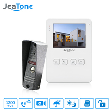 "JeaTone 4"" Touch Button Indoor Monitor Video Door Phone Door Unlock Doorbell Intercom System Photo/Video Record Function 1200TVL"