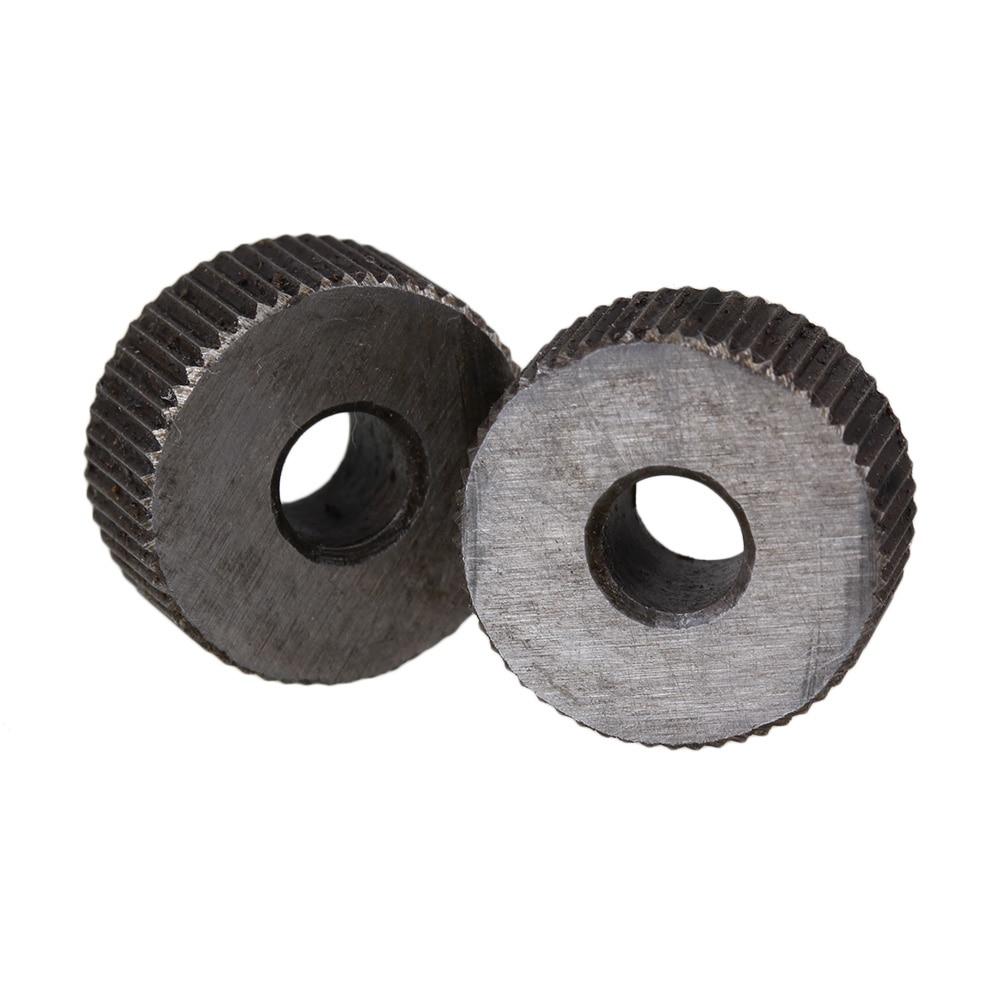 2pcs Knurling Tool Silver Single Straight Wheel Linear Knurl 0.8mm Pitch