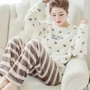 Image 3 - New Spring Winter Anti Cold Keep Warm Women Coral Fleece Pajamas Set of Sleepcoat & Lady Thermal Flannel Home Clothing Bottoms