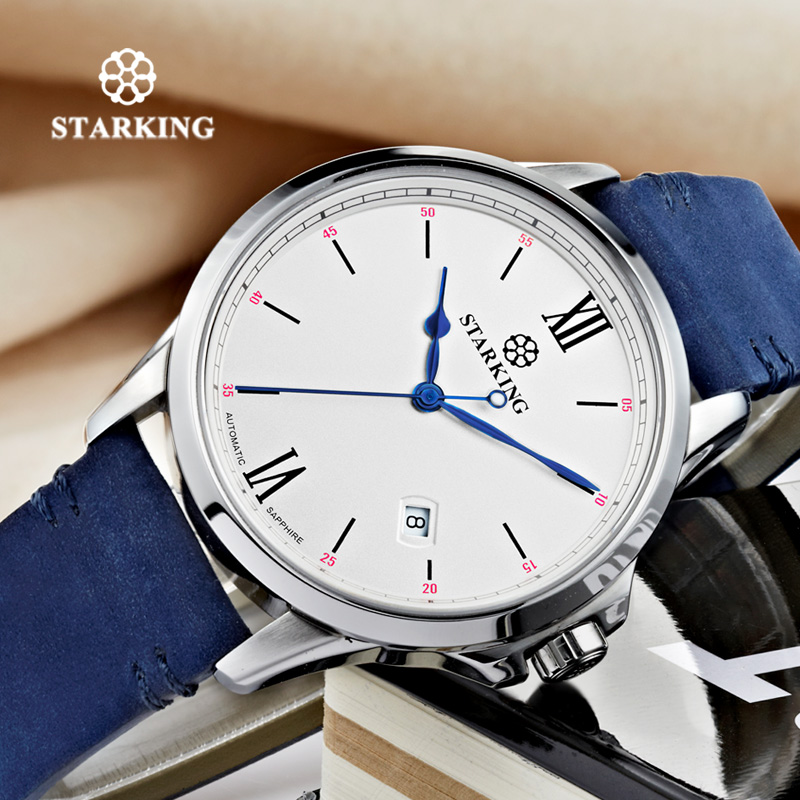 STARKING Watch Relogio Masculino Leather Mechanical Men WristWatch Simple Automatic Self-wind Watch Men Water Resistant Autodate top brand men automatic self wind watch guanqin date watch men s fashion casual leather mechanical wristwatch relogio masculino