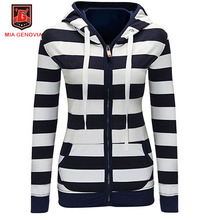 Plus Size Women Autumn Fashion Hoodie Sweatshirt Striped Blue Shirt Tee Zipper Hoodies Sweatshirt Tracksuit Girls Jacket S-4XL
