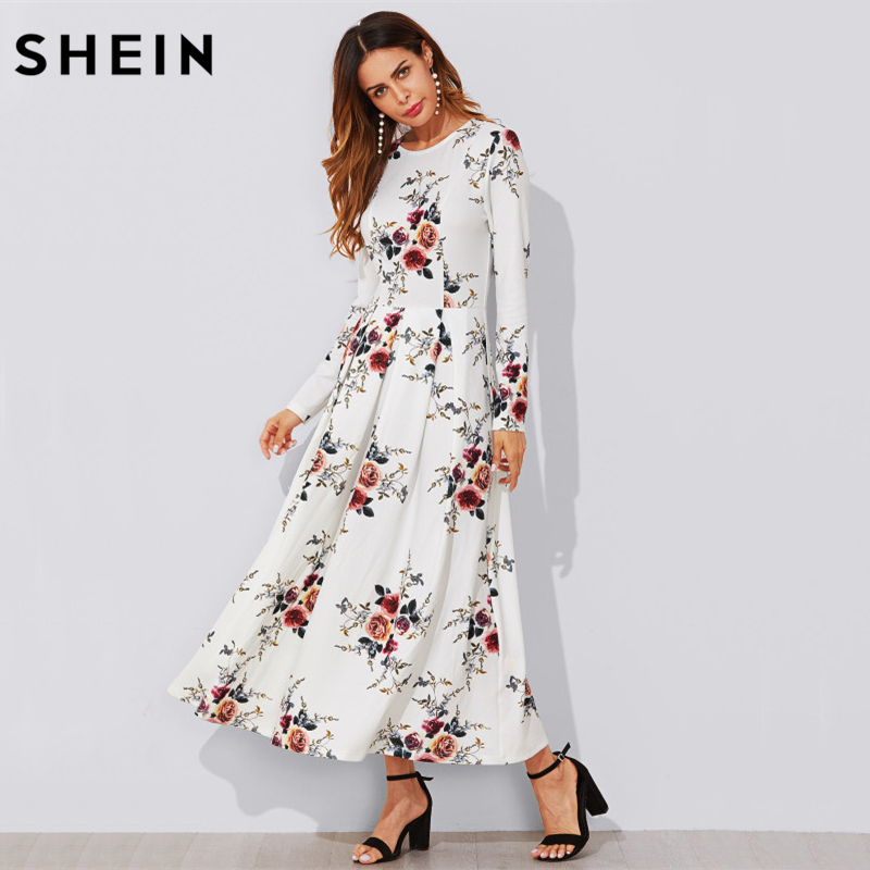 SHEIN Flower Print Box Pleated A Line Dress Casual Women Autumn Dress White Long Sleeve Floral Elegant Maxi Dress