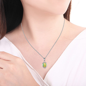 Image 4 - Uloveido Fire Opal Pendant Necklace for Women, 925 Sterling Silver, 8*10mm Certified Color Changing Gemstone Jewelry FN150