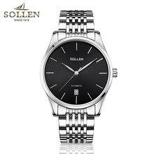 Top Brand Sollen Etiquetas Reloj de acero inoxidable de la Manera de Los Hombres de Lujo negro Relojes Mecánicos de Los Hombres del calendario Relojes de pulsera Montre